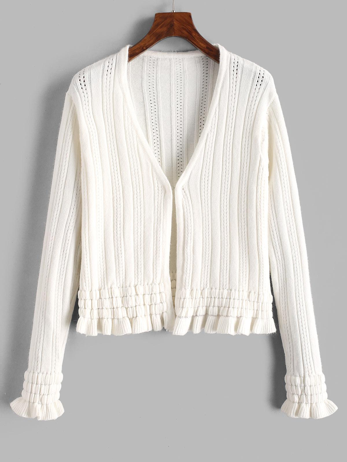 Hook And Eye Frilled Pointelle Knit Cardigan
