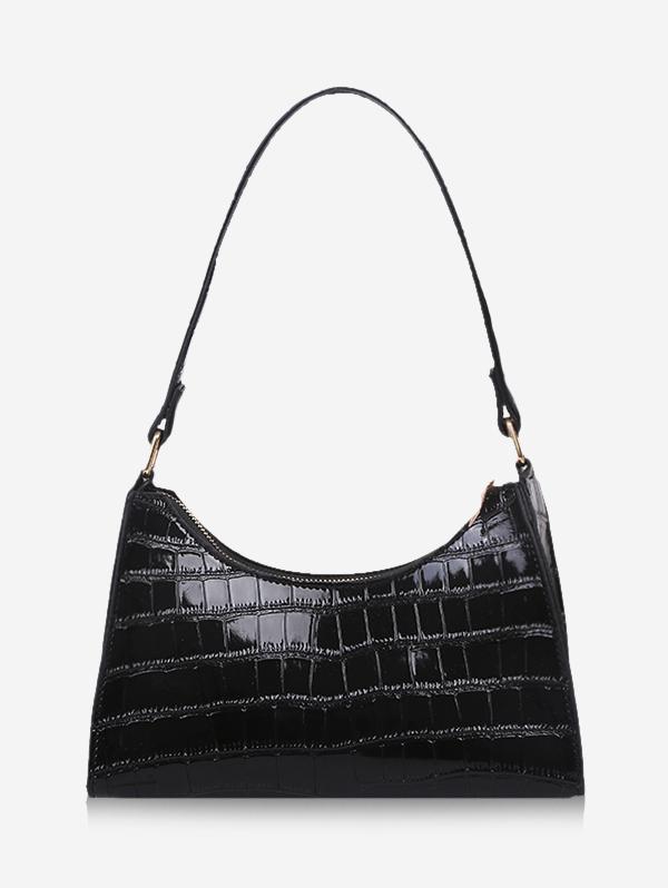 Textured Patent Leather Shoulder Bag