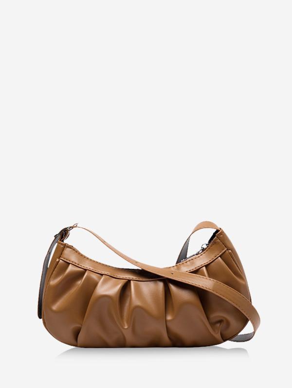 Pleated Solid Shoulder Bag