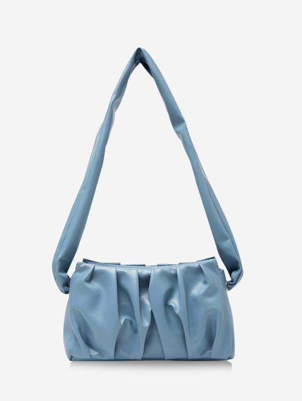 Pleated Wide Strap Shoulder Bag