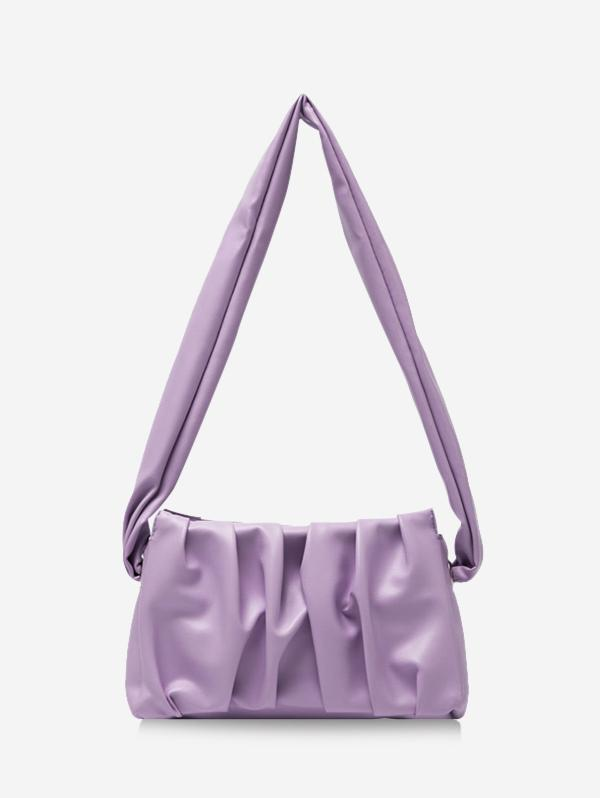 Pleated Wide Strap Shoulder Bag