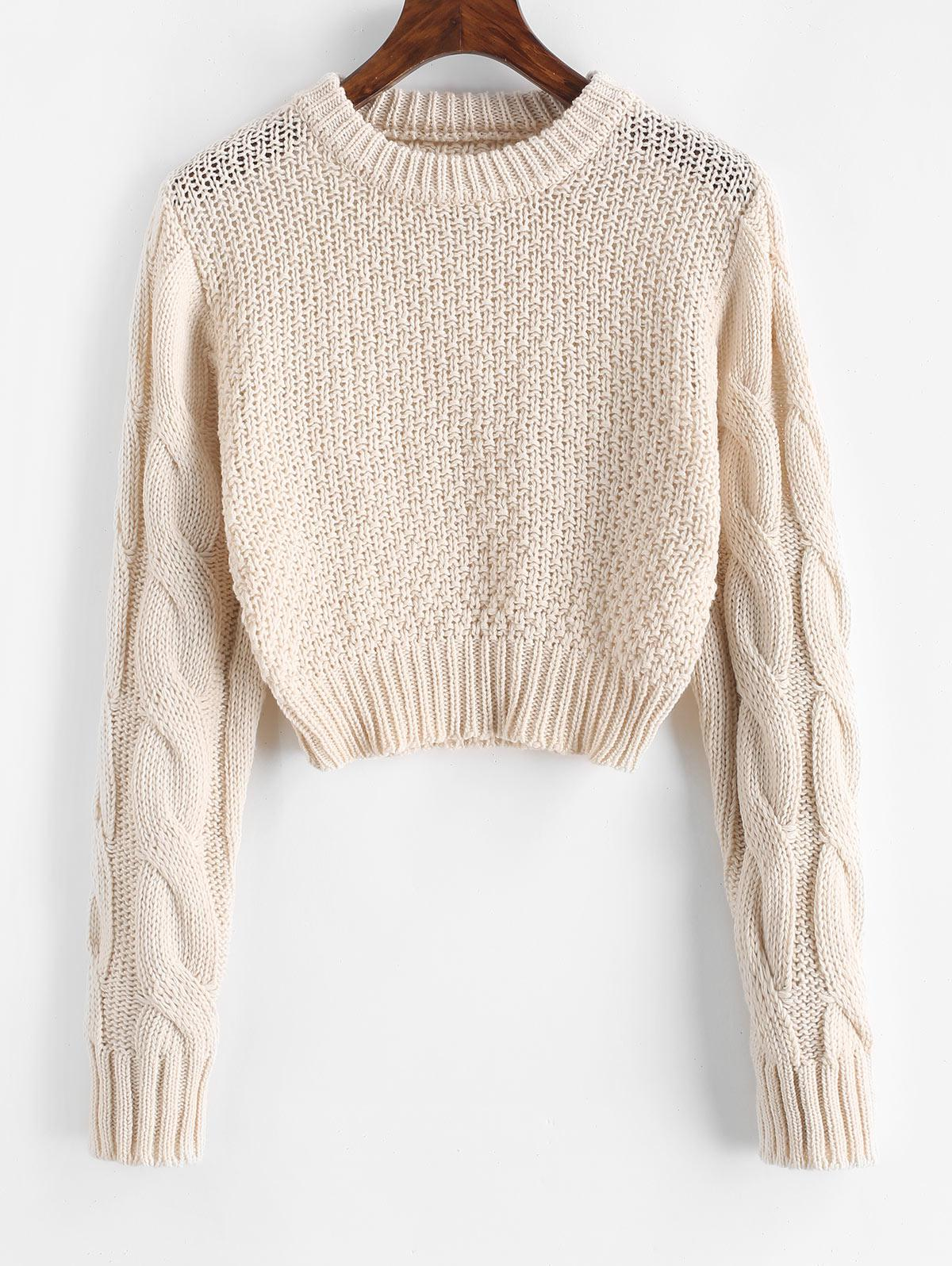 Crew Neck Cropped Cable Knit Sweater