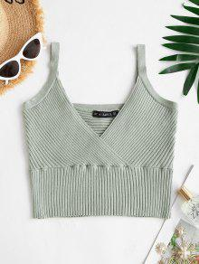 Solid Knitted Surplice Crop Top