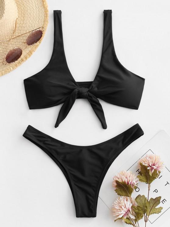 outfit Scrunch Butt Knotted Thong Bikini - BLACK M