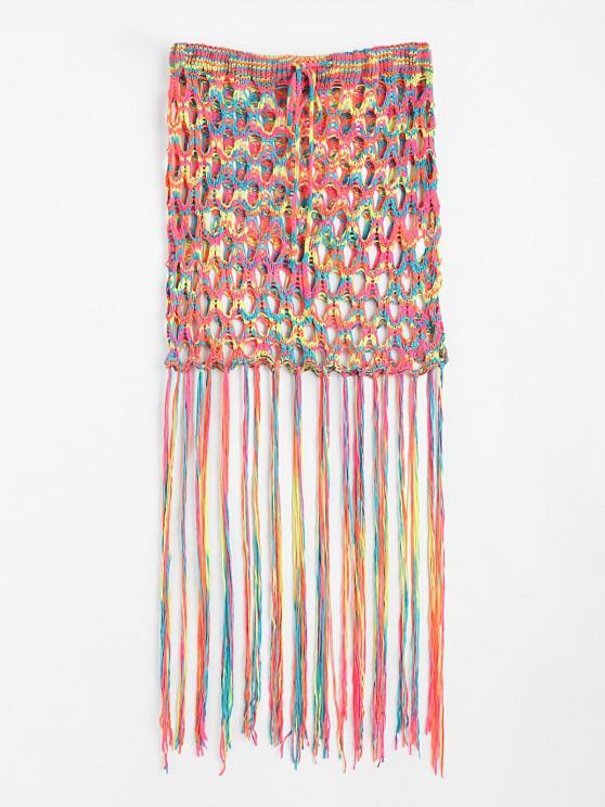 Drawstring Tassel Crochet Hollow Out Beach Skirt - متعدد حجم واحد