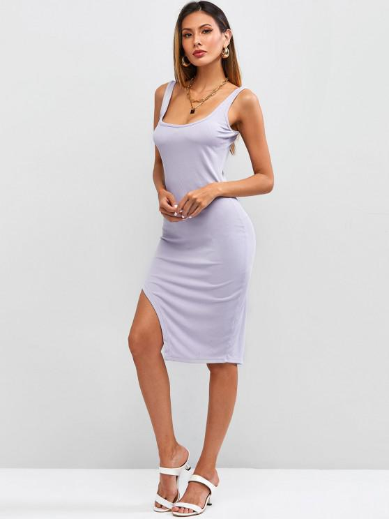 unique Ribbed Uneven Hem Bodycon Tank Dress - LIGHT PURPLE S