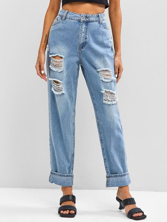 shop Light Wash Ripped Cuffed Boyfriend Jeans - BLUE S
