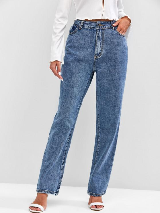 ladies Snow Wash Mom Jeans - BLUE XS
