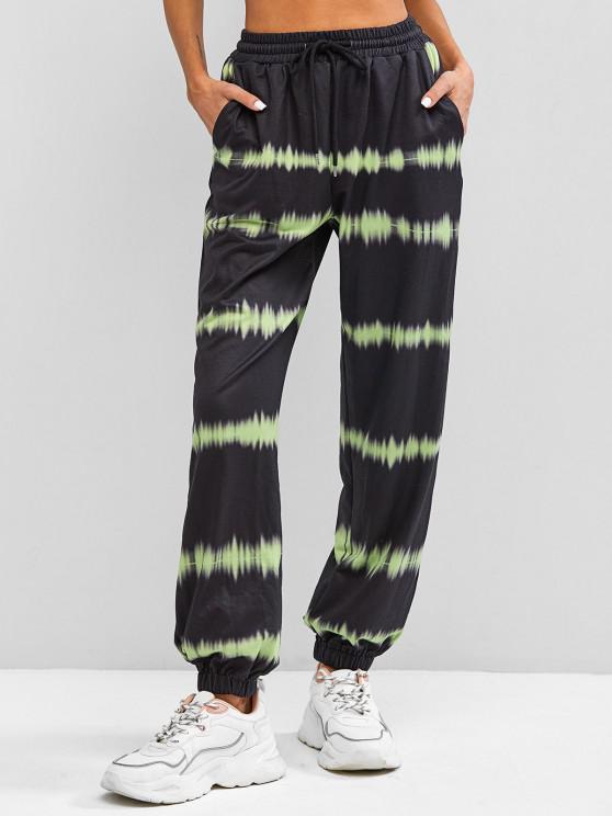 shop ZAFUL High Waisted Tie Dye Jogger Pants - BLACK XL