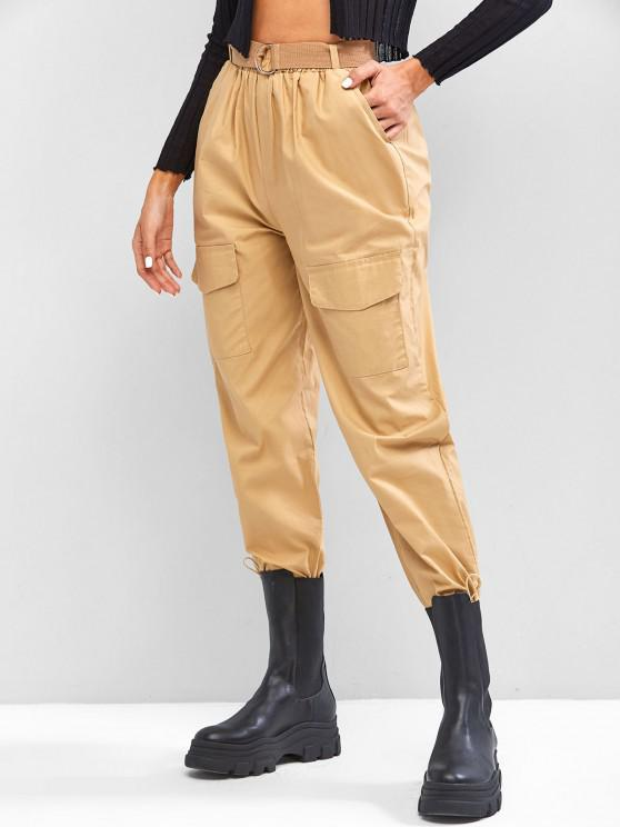 fancy Boyish Pockets Buckle Belted Toggle Drawstring Cargo Pants - LIGHT COFFEE S
