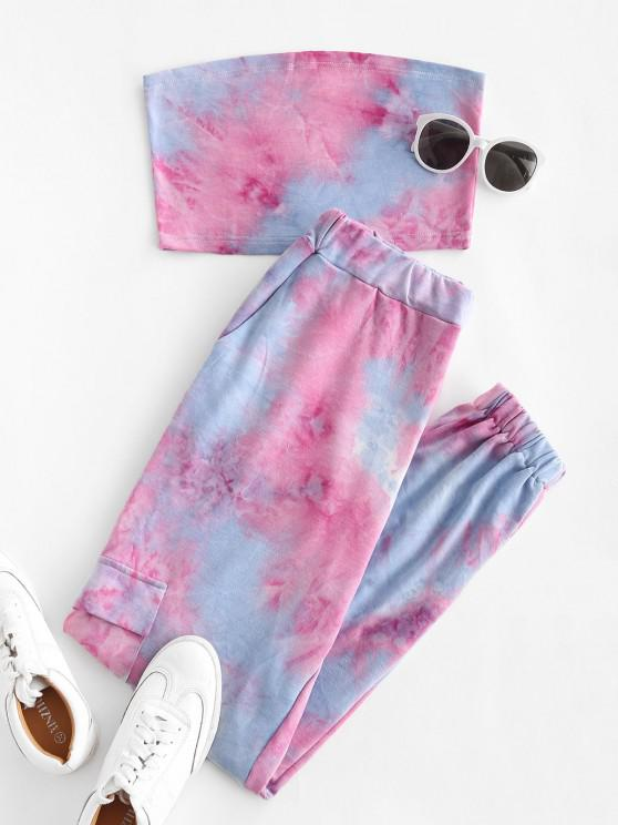 best Sweat Tie Dye Two Piece Jogger Pants Set - LIGHT BLUE S