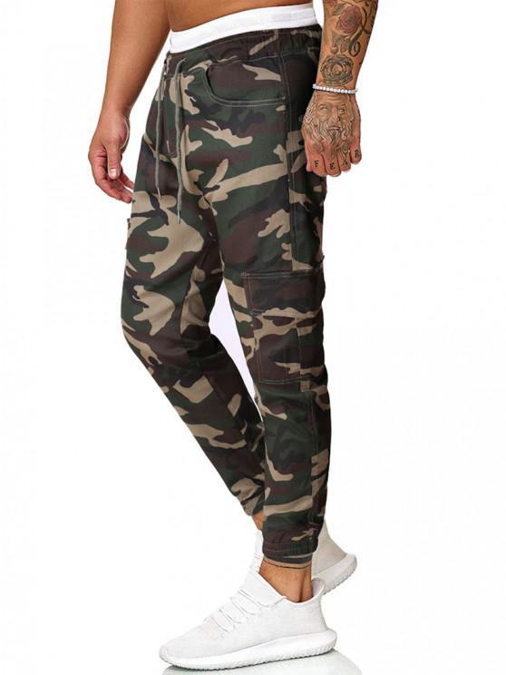 Camouflage Print Flap Pockets Beam Feet Pants - التمويه الأخضر XL