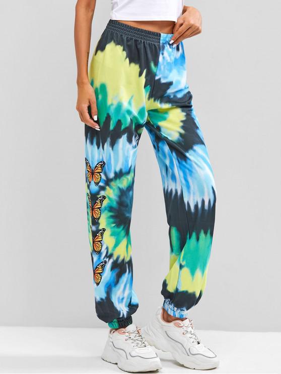shop Tie Dye Butterfly Printed Jogger Pants - MULTI S