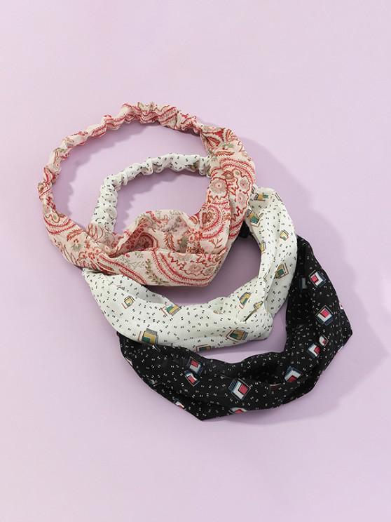 3Pcs Geometric Floral Headband Set - متعددة-A