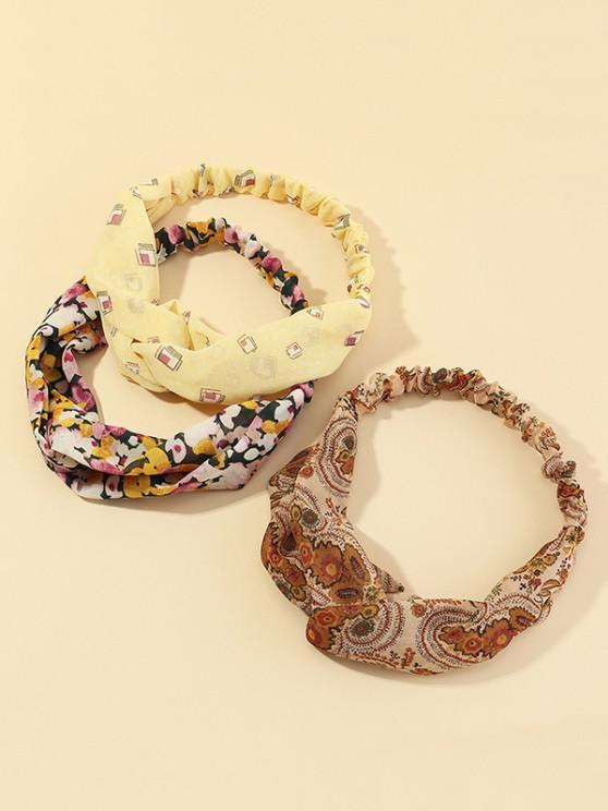 online 3Pcs Floral Print Headband Set - MULTI-A