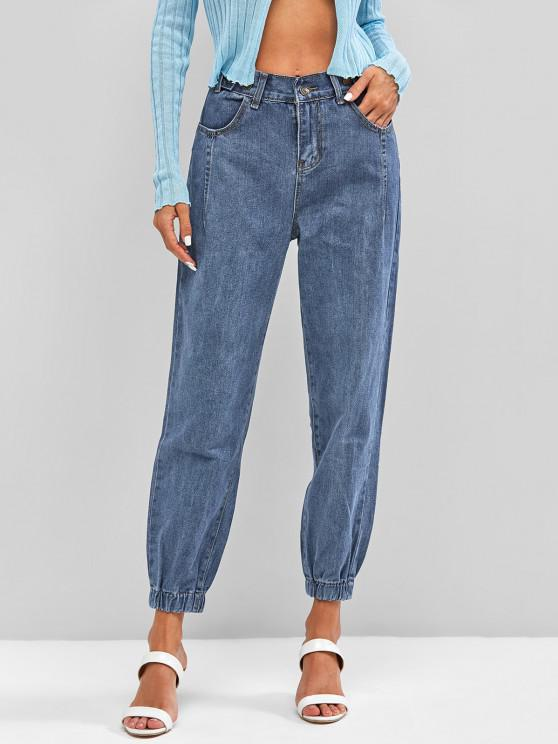 fancy High Waisted Tapered Jogger Jeans - LIGHT BLUE XL
