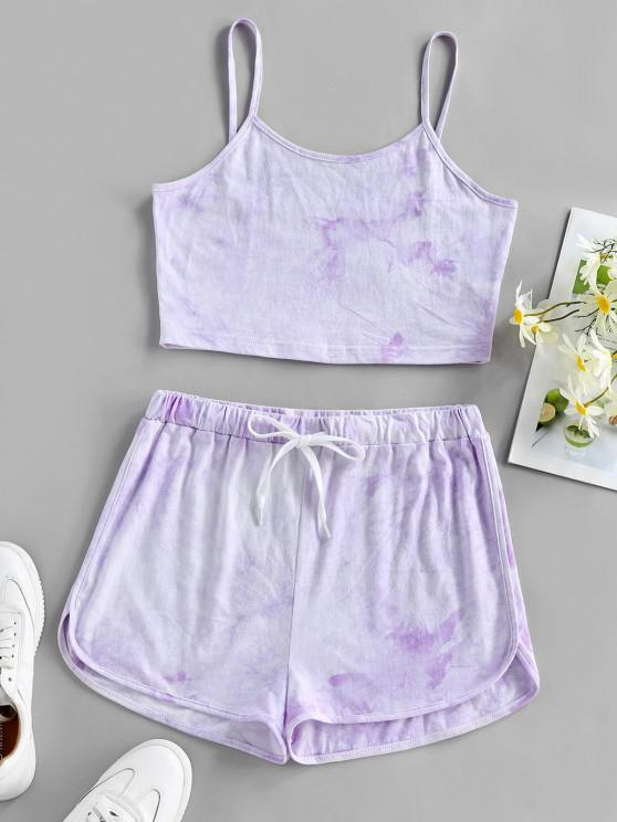 online ZAFUL Tie Dye Cami Top and Shorts Set - LIGHT PURPLE L