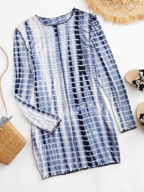 Long Sleeve Tie Dye Stitching Mini Dress - ازرق غامق S