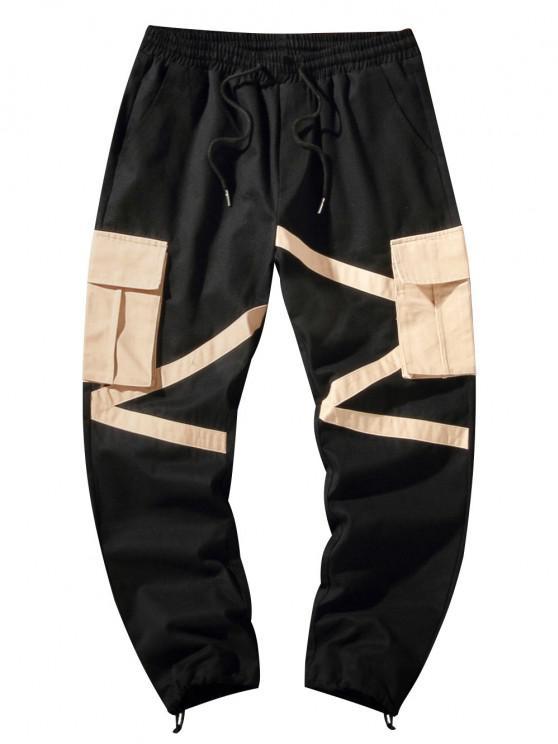 latest Colorblock Flap Pocket Toggle Cuff Cargo Pants - BLACK XL