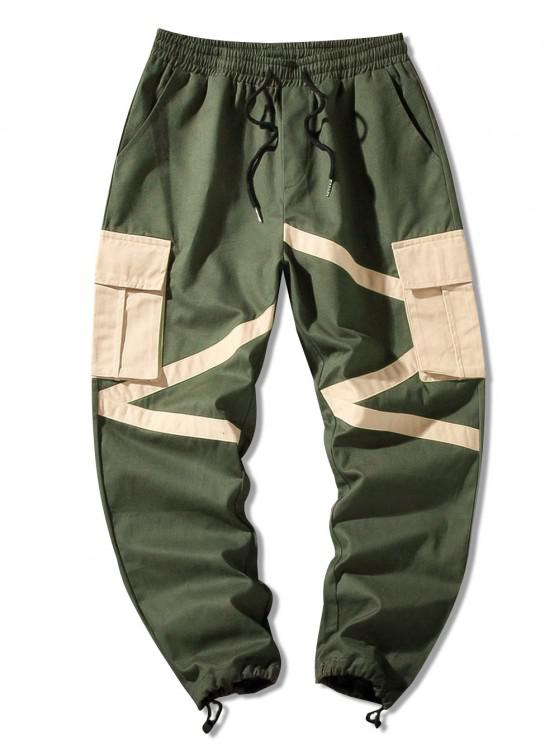Pantalones de Carga de Cremallera de Bloqueo de Color de Bolsillo de Solapa - Ejercito Verde XS