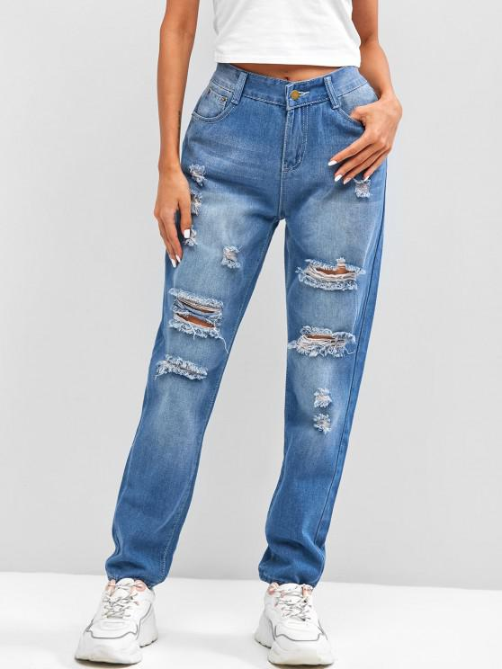 women Ripped Destroyed High Rise Pencil Jeans - BLUE S