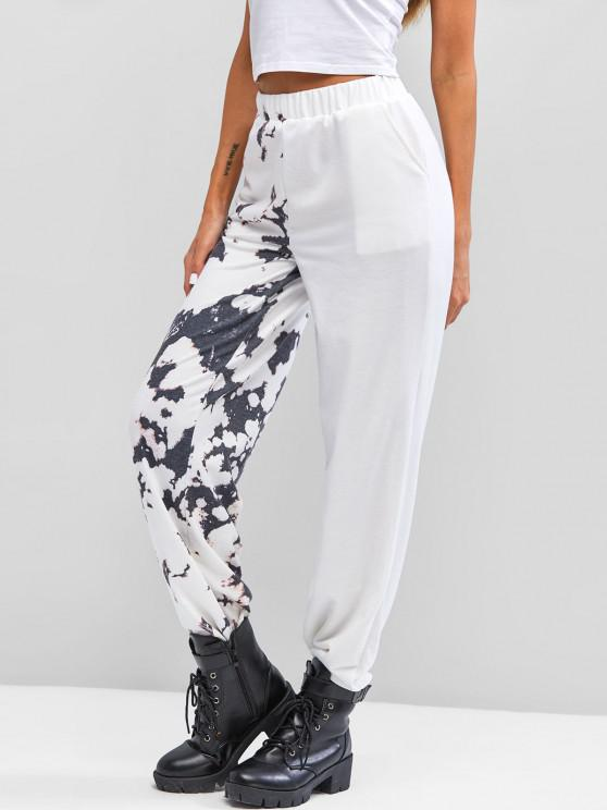 best Tie Dye High Waisted Pocket Jogger Pants - WHITE M