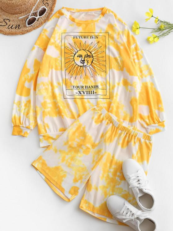 womens Tie Dye Moon and Sun Graphic Two Piece Shorts Set - YELLOW M