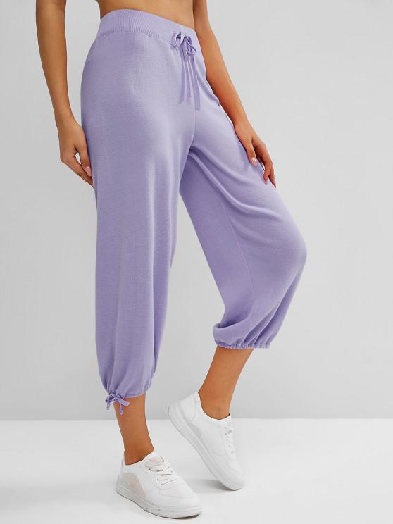 unique Knitted Drawstring Hem Tie High Rise Pants - CONCORD ONE SIZE