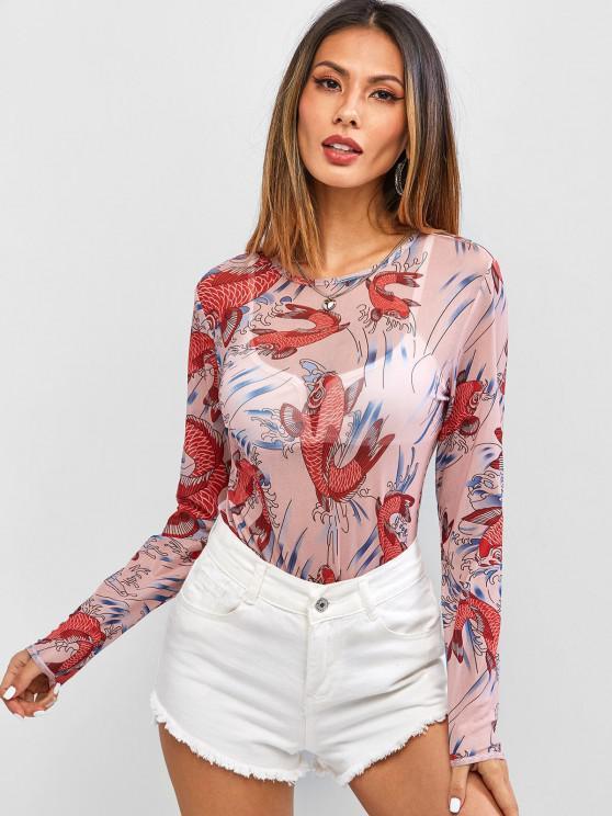 outfits Koi Fish Print Sheer Mesh Bodysuit - RED S