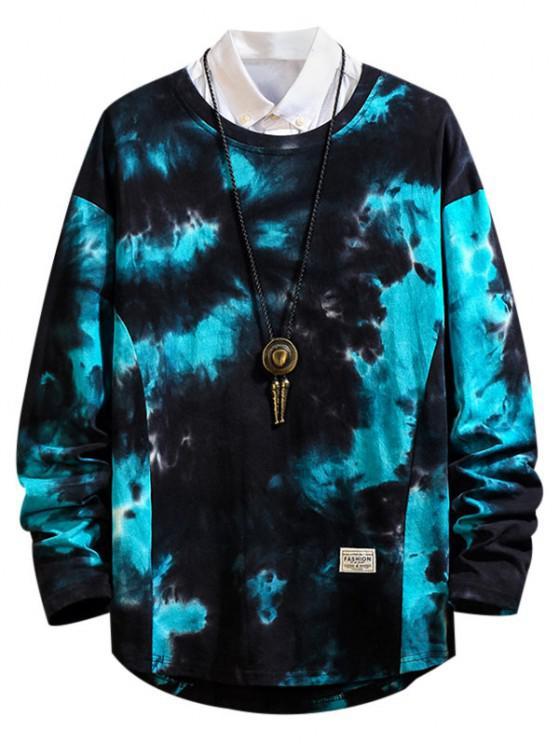 chic Tie Dye Print Asymmetric Hem Drop Shoulder T Shirt - BLUE M