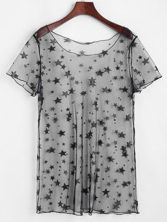 fashion ZAFUL Star Lace See Thru Tunic Cover Up Dress - BLACK L