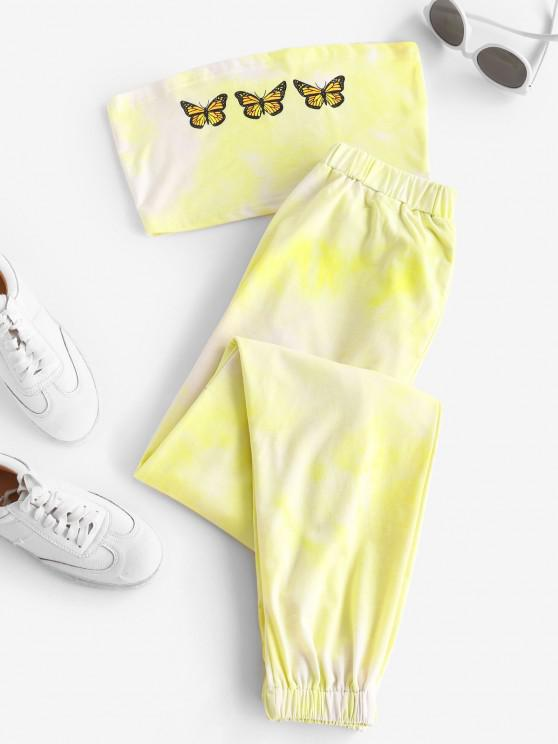 ladies Butterfly Bandeau Top And Jogger Pants Set - YELLOW XL