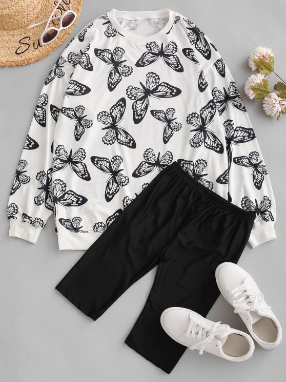 best Drop Shoulder Butterfly Two Piece Biker Shorts Set - BLACK M