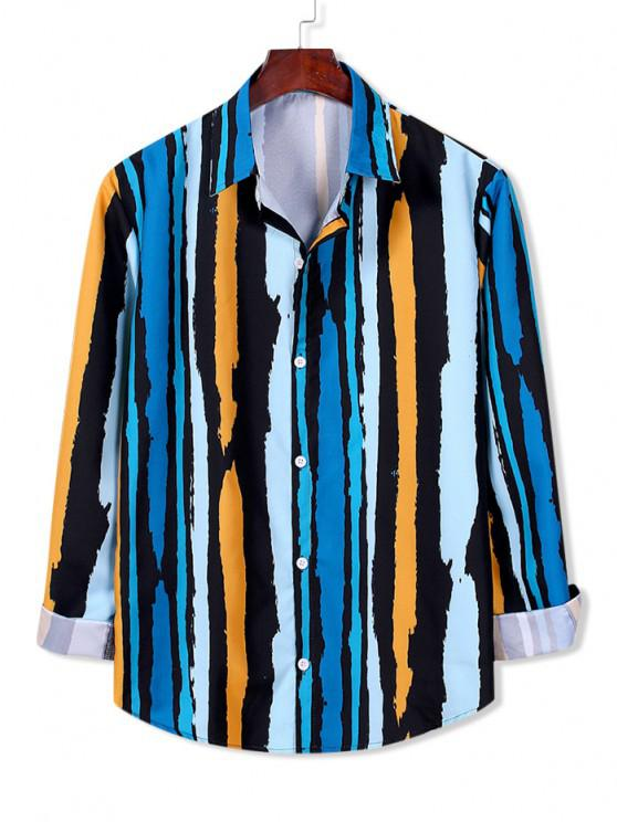 outfit Striped Paint Print Long Sleeve Shirt - MULTI-A S
