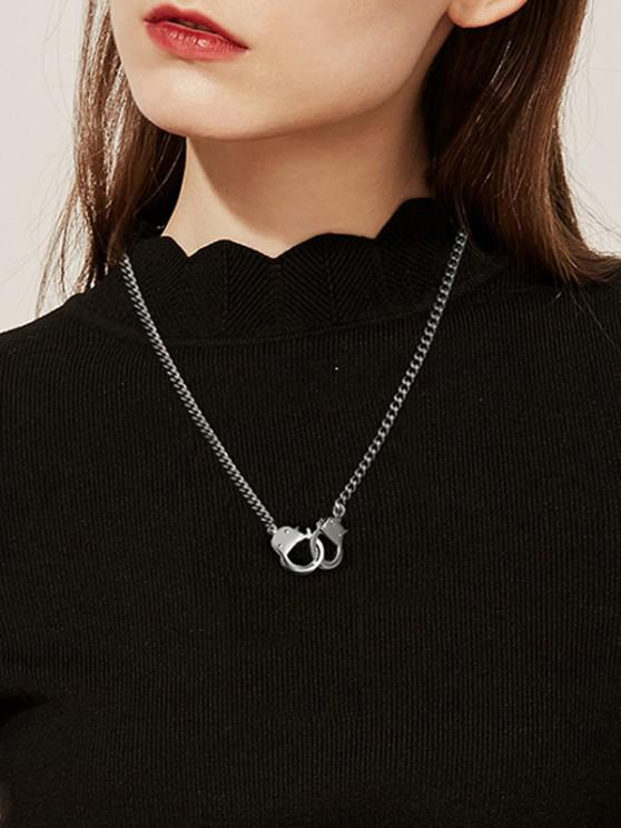 ladies 18K Gold Plated Handcuff Necklace - SILVER