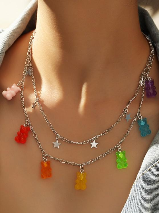 online Resin Bear Star Layered Necklace - SILVER