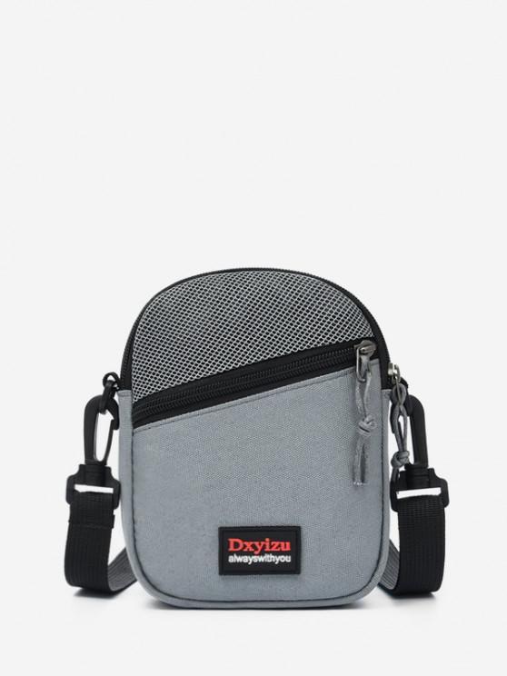 Mesh Panel Mini Crossbody Bag - اللون الرمادي