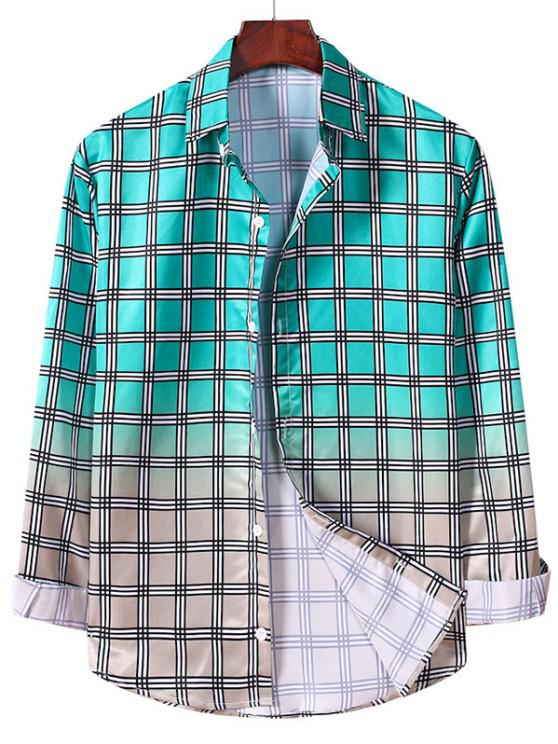 ladies Ombre Plaid Pattern Long Sleeve Shirt - MACAW BLUE GREEN XL