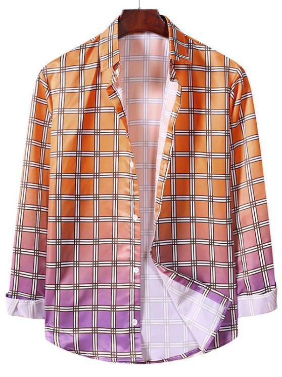 shops Ombre Plaid Pattern Long Sleeve Shirt - PUMPKIN ORANGE XL