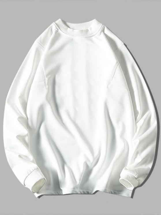 chic Solid Stitching Mock Neck Sweatshirt - WHITE XL