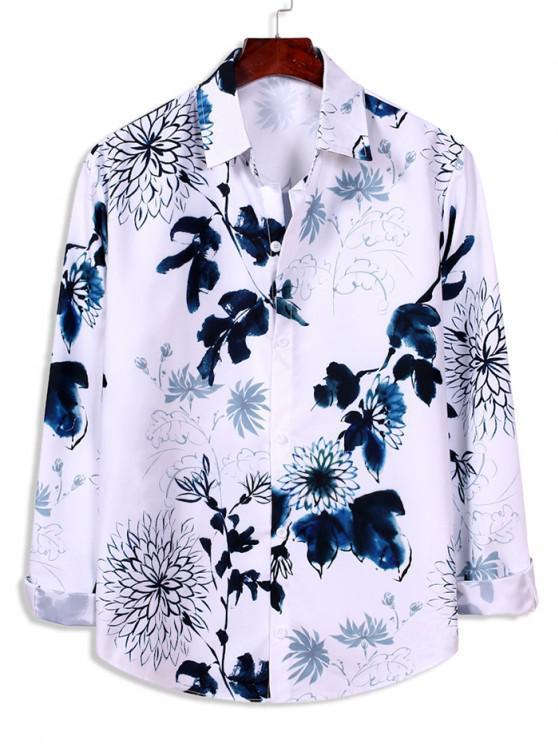 women's Flower Ink Painting Print Long Sleeve Shirt - WHITE XL