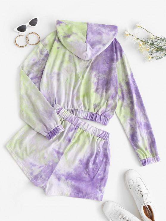 Tie Dye Hoodie And Sweat Shorts Set - Purple M   ZAFUL