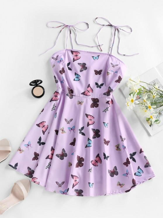 outfit ZAFUL Butterfly Print Tie Shoulder Backless Mini Dress - LIGHT PURPLE S