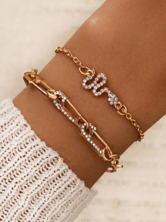 trendy 2Pcs Snake Safe Pin Shape Bracelet Set - GOLDEN