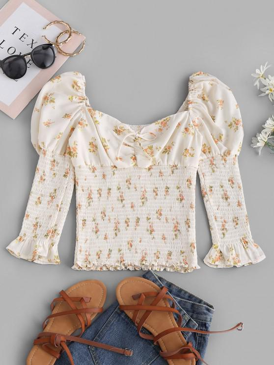 Tie Collar Smocked Ditsy Floral Milkmaid Blouse - أبيض M