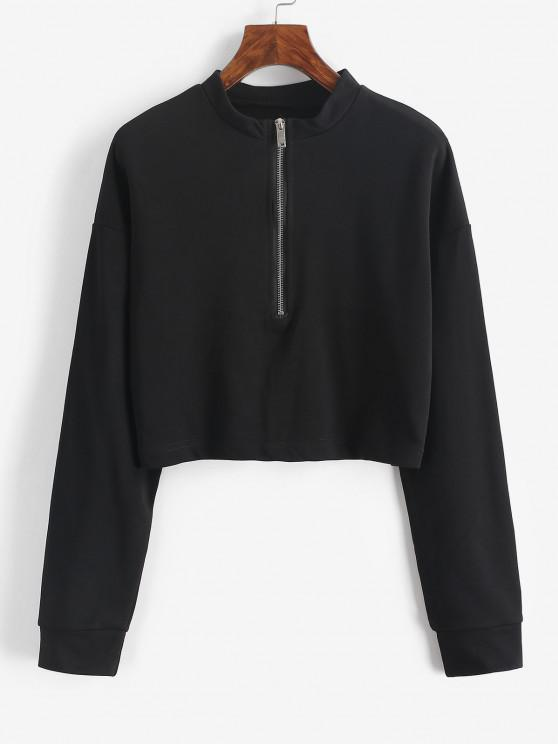 lady Half Zip Cropped Pullover Sweatshirt - BLACK M