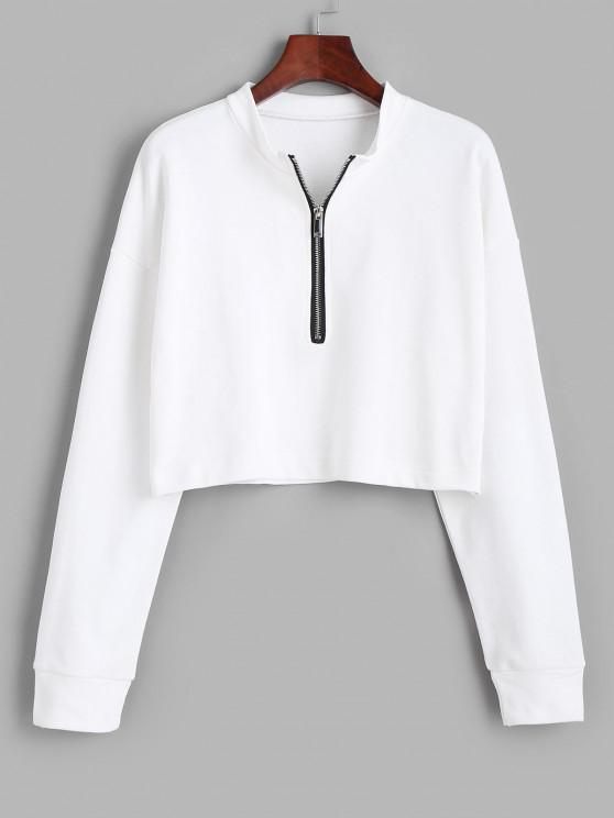 outfit Half Zip Cropped Pullover Sweatshirt - WHITE M