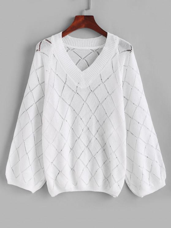 V Neck Openwork Raglan Sleeve Jumper Sweater - أبيض حجم واحد