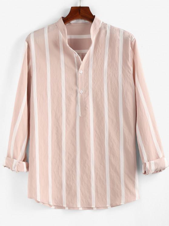 ZAFUL Striped Print Half Button Long Sleeve Shirt - وردي فاتح 2XL