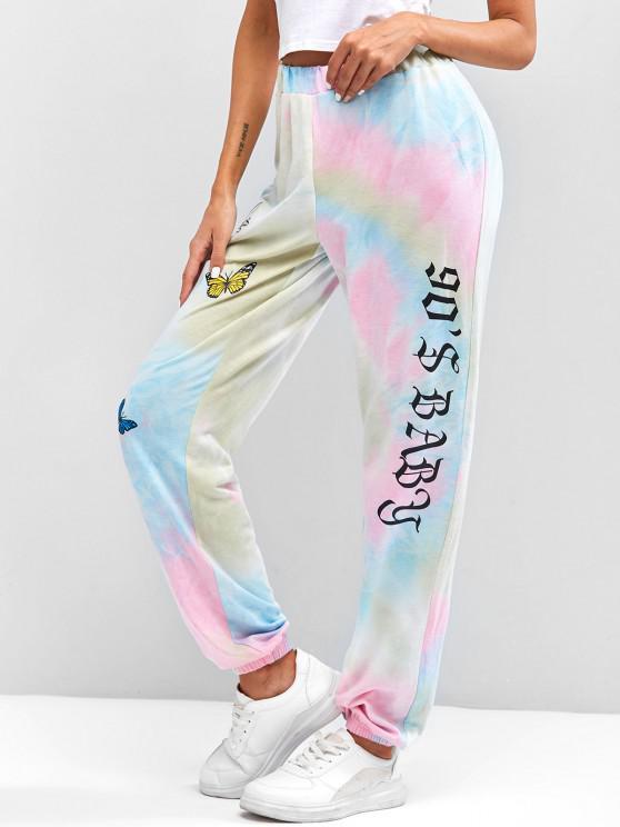 ZAFUL Tie Dye Floral Letter Graphic Jogger Pants - Multi S
